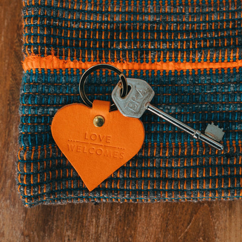 Leather Keyring - Love Welcomes
