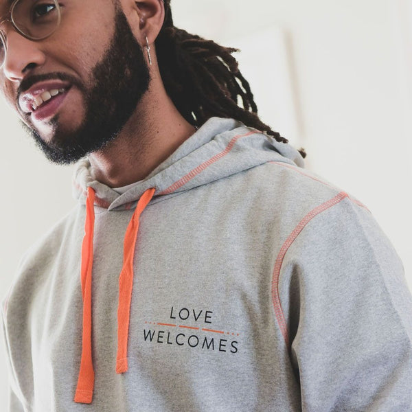 Love Welcomes Grey Marl Unisex Hood - Love Welcomes