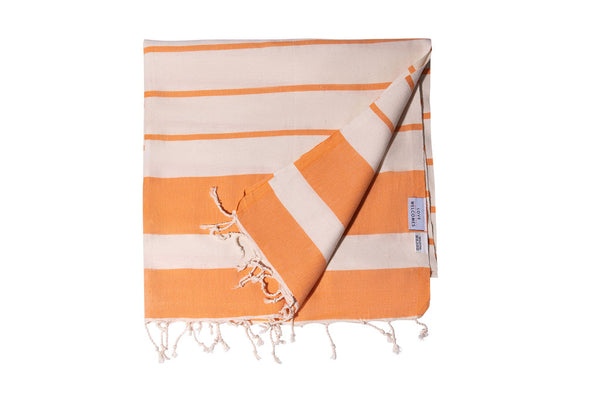 Turkish Towel Natural Ecru Cotton - Orange - Love Welcomes
