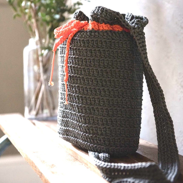 Crocheted Shoulder Bag - Grey - Love Welcomes