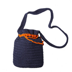 Crocheted Shoulder Bag - Blue - Love Welcomes