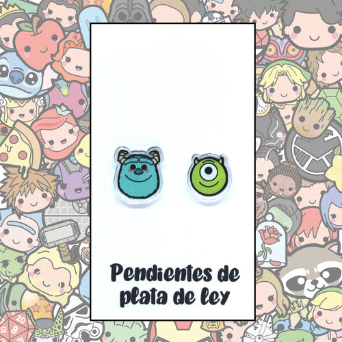 Monstruos S.A. Pendientes Kawaii Mike y Sulley