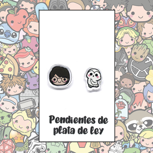 Harry Potter Pendientes Kawaii Harry y Hedwig