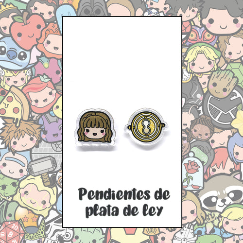 Harry Potter Pendientes Kawaii Hermione y Giratiempos