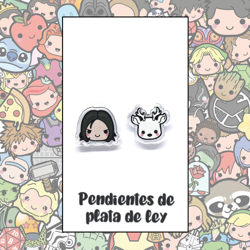 Harry Potter Pendientes Kawaii Severus Snape y Patronus