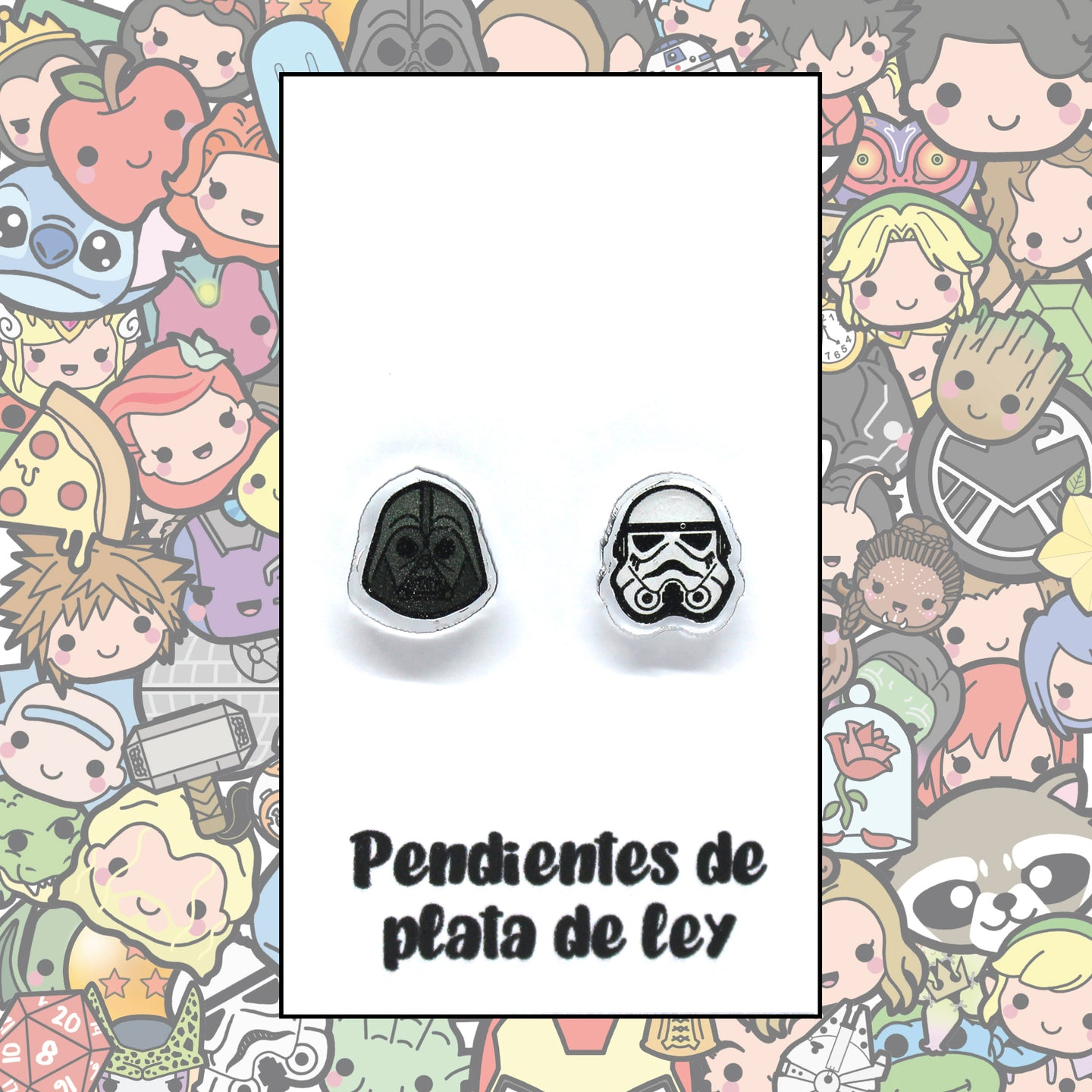 Star Wars Pendientes Kawaii Darth Vader y Stormtrooper