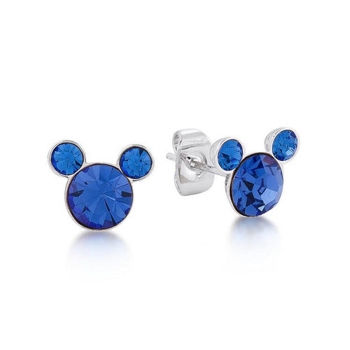 Mickey Mouse Pendientes Cristal Azul Zafiro September Birthstone