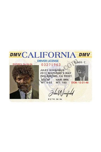 Pulp Fiction Carnet de Conducir de Jules Winnfield