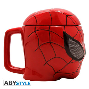 Taza 3D de Spiderman con tapa vista lateral