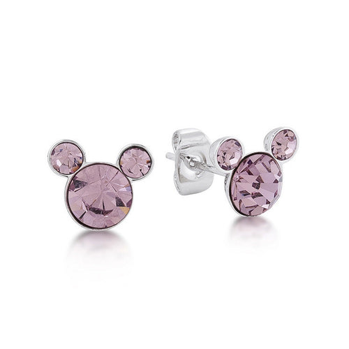 Mickey Mouse Pendientes Cristal Rosa June Birthstone