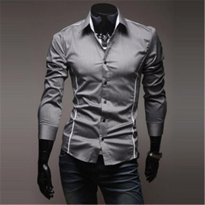 Mens Shirts Men's Dress Shirt Casual Slim Fit Stylish Long-Sleeved Shirts 3 Colors Size M-XXXL-cgabuy