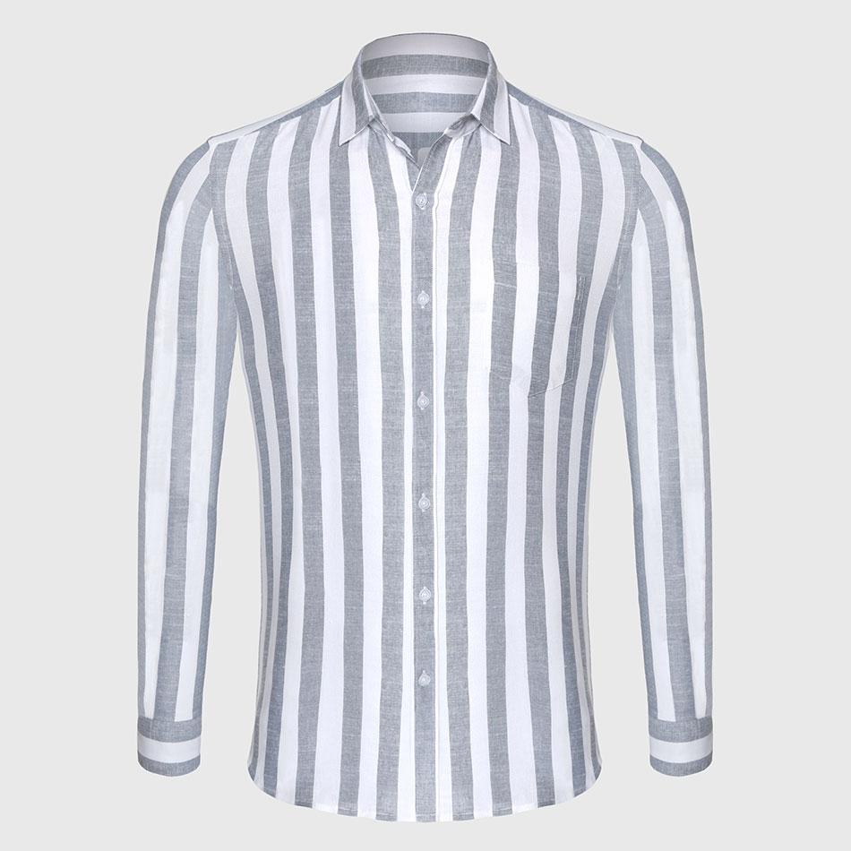 Zecmos Stripe Cotton Linen Casual Shirt Men Striped Shirt Linen Male Slim Fit Men Shirt Long Sleeve Social Business-cgabuy
