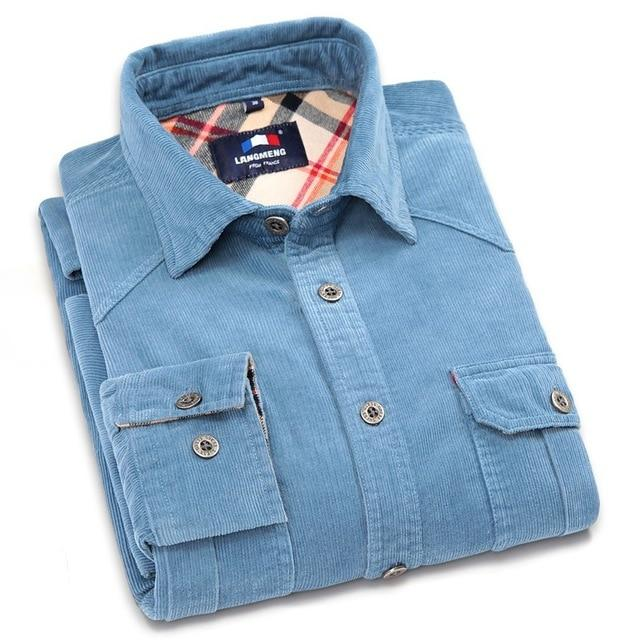 Langmeng 100% Cotton Vintage Corduroy dress Shirt Men Slim Fit New Casual Shirts Mens Brand Long Sleeve Clothes Camisa Hombre-cgabuy