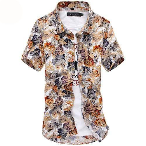 Summer Men`s Floral Shirt Short Sleeve Multi-colors Hawaiian Hawaii Slim Fit Shirts For Male-cgabuy