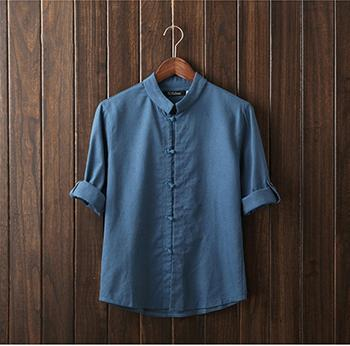 HCXY Chinese style linen shirt mens blouse new big yards 7 points sleeve cotton shirt M-5XL famous brand men shirts 2017-cgabuy