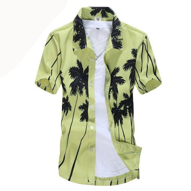 Hot style Brand Summer Hawaiian Men's Hawaii Beach Shirt, chemise homme Coconut Palm prints Loose Casual Shirts Asian Size L-4XL-cgabuy