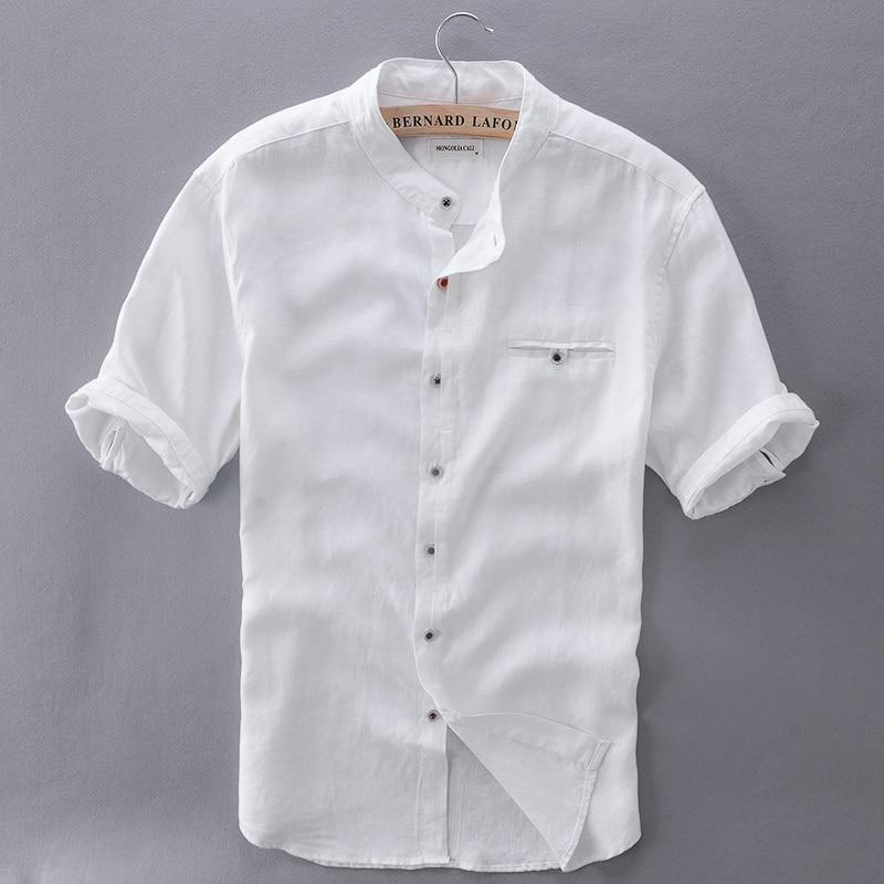 2017 Pure Linen Shirts Men Short Sleeve Solid White Men Shirt Brand Summer Flax Shirt Mens Slim Comfortable Shirts Mens Camisa-cgabuy