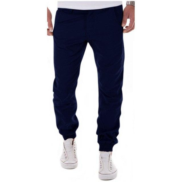 Mens Casual Pants Trousers Cotton 2017 New Summer autumn Free Style Men's Pure Color Leisure Foot Trousers Multicolor-cgabuy