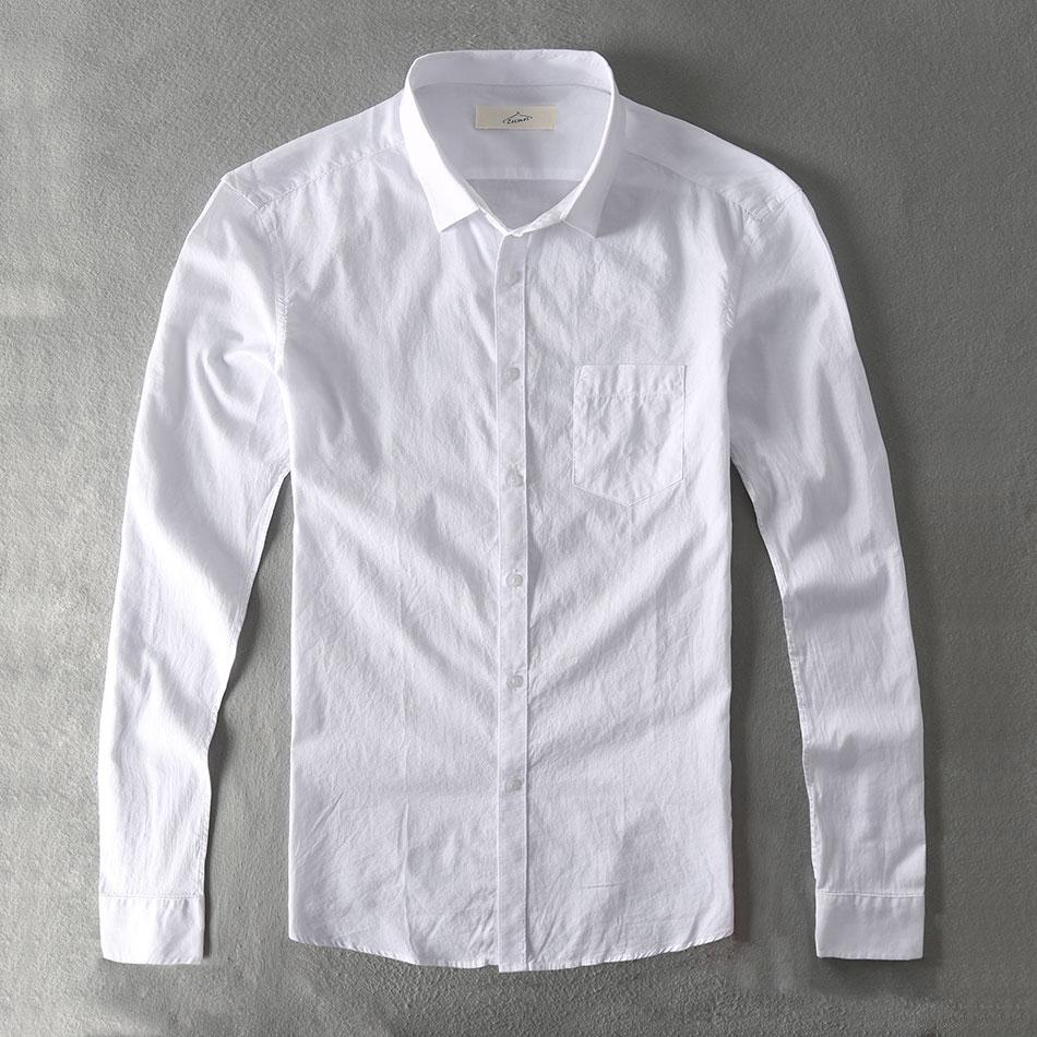 Zecmos Casual Shirt Men Cotton White Shirt Male Plain Solid Slim Fit Long Sleeves-cgabuy