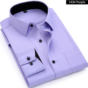 Men Long Sleeved Shirt Slim Fit Style Design Solid Color Business Casual Dress Shirt Male Social Brand Men Clothing 2018 New-cgabuy