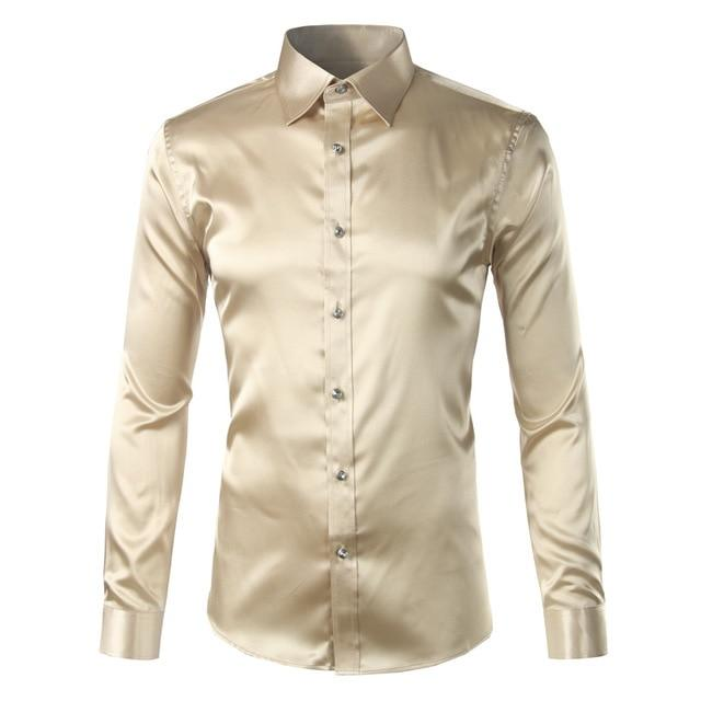 Silk Shirt Men 2017 Satin Smooth Men Solid Tuxedo Shirt Business Chemise Homme Casual Slim Fit Shiny Gold Wedding Dress Shirts-cgabuy