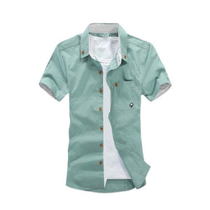 Fashion Summer Men Leisure Short Sleeves Shirt Casual Mushroom Embroidery Shirts Tops H9-cgabuy
