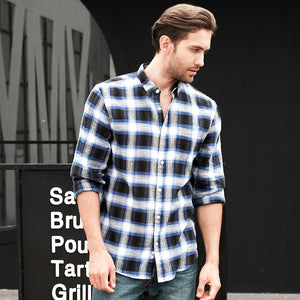 Zecmos Plaid Checkered Shirt Men Linen Casual Shirt Social Fit England Long Sleeve Shirts School Style-cgabuy
