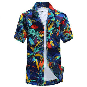 Mens Hawaiian Shirt Male Casual camisa masculina Printed Beach Shirts Short Sleeve brand clothing Free Shipping Asian Size 5XL-cgabuy