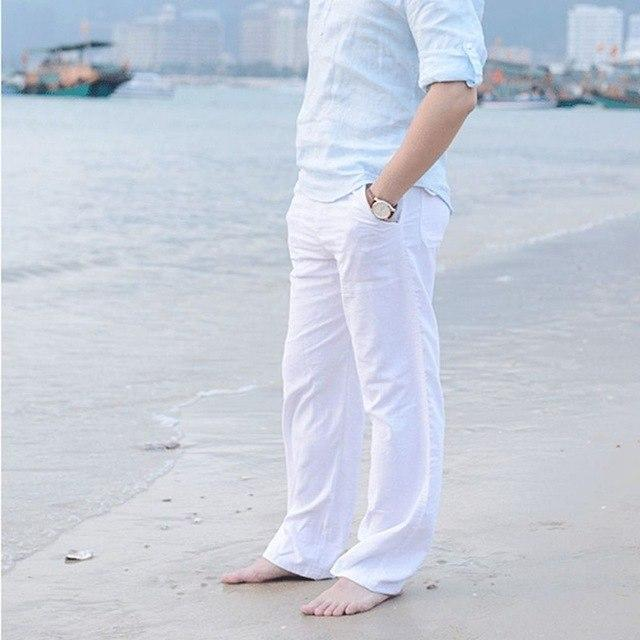 Mens Linen Loose Pants Beach Drawstring Casual Long Slacks Trousers Beach trousers DAJ9211-cgabuy