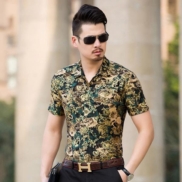 Floral Print Shirt Men 2017 Brand New Gold Bronzing Short Sleeve Chemise Homme Fancy Flower Mens Dress Shirts Camisa Masculina-cgabuy