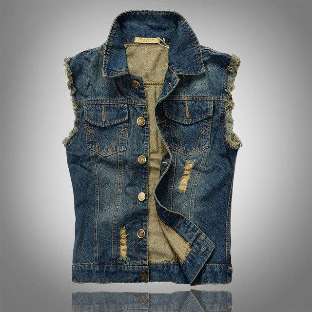 Mountainskin Ripped Jean Jacket Mens Denim Vest 5XL 6XL Jeans Waistcoat Men Cowboy Brand Sleeveless Jacket Male Tank Top JA335-cgabuy