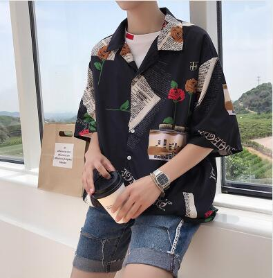2017 the new summer men's Korean version of loose personality printing fashion trends BF wind half sleeve shirt cotton clothes-cgabuy