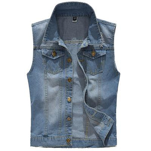 Mountainskin Ripped Denim Vest Men's Jacket Sleeveless Casual Waistcoat Men's Jean Coat 5XL Slim Fit Cowboy Male Jacket SA326-cgabuy