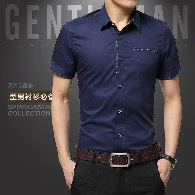 Plus Size 5XL 2017 Summer Mens Dress Shirts Short Sleeves Cotton Social Shirt Turn-down Collar Cardigan Shirt Men Clothes-cgabuy