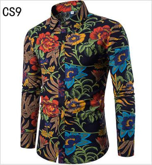 HOT!! 2017 Fashion Long sleeve Men's shirts Casual Random patchwork Print Linen Shirt men Brand Plus size Camisas DX686-cgabuy