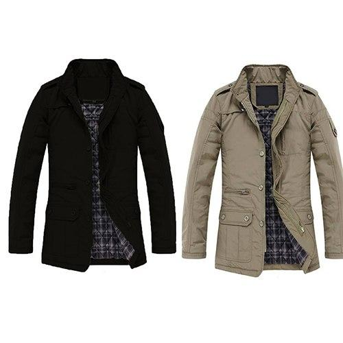 Men Winter Casual Long Sleeve Stand Collar Outwear Thick Coat Warm Jacket-cgabuy