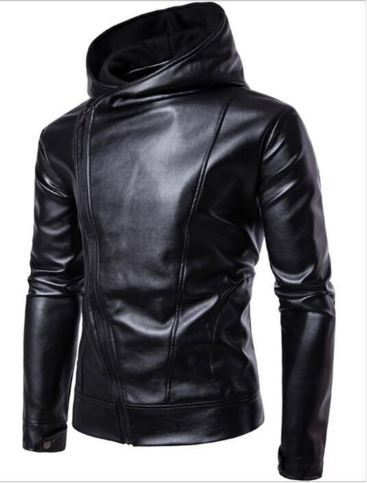ZHUOFEI PU Faux Leather Jacket Men Biker Jacket Leather Jacket Male Motorcycle Jacket LEATHER HOOD black M-4XL-cgabuy