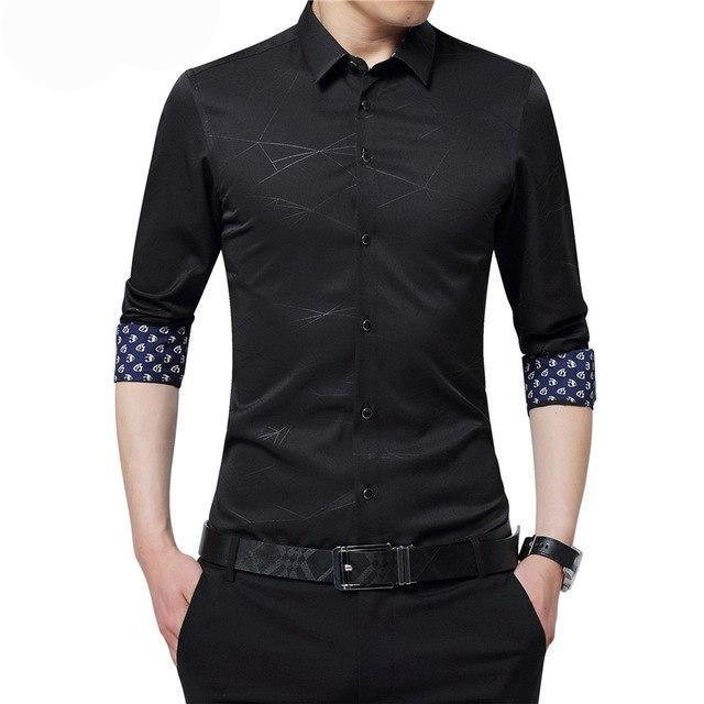 BROWON Luxury Brand Mens Dress Shirts Men Shirt Long Sleeve Geometric Print Party Shirt Handsome Fashion Blouse for Man-cgabuy