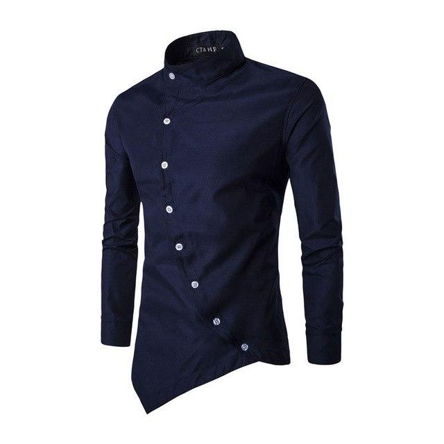 Men Shirt Long Sleeve Shirt Casual Solid color Slim Fit Black Shirt by CT&HF-cgabuy