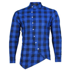 Long Sleeve Plaid Flannel Men Shirt Slim Fit Mens Casual Shirts Free Shipping-cgabuy