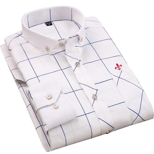 Dudalina Male 100% Cotton 2017 Printing Embroidery Classic Business Men's Shirts Long Sleeve Turndown Collar Dress Shirt-cgabuy