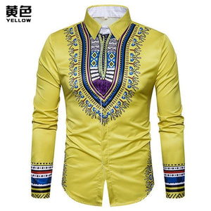 3D Print Shirt Men 2017 Traditional African Dashiki Men Shirt Long Sleeve Slim Fit Casual Mens Dress Shirts Camisas Masculinas-cgabuy