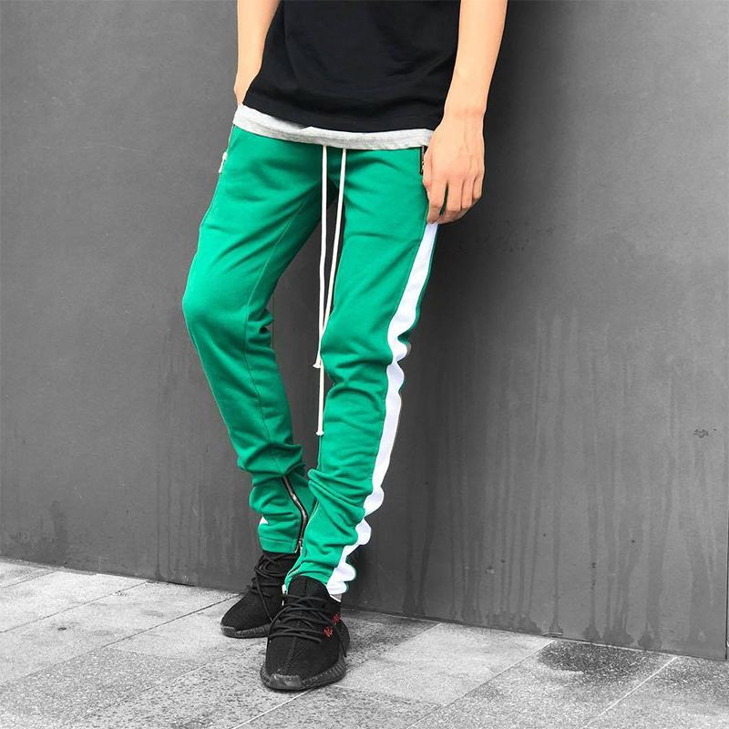 NEW Men Casual Lace Up Pants Jogger Stitching Color Zipper Open Leg Trousers Fitness Loose Long Pants Workout Legging Sweatpants-cgabuy