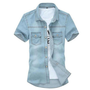 TANGNEST 2018 Hot Sale Men's Solid Short-sleeved Shirt Male Casual Comfortable Korean Style Turn-down Collar Denim Shirts MCS102-cgabuy