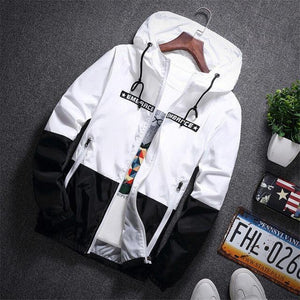 New Spring Autumn Bomber Hooded Jacket Men Casual Slim Patchwork Windbreaker Jacket Male Outwear Zipper Thin Coat Brand Clothing-cgabuy