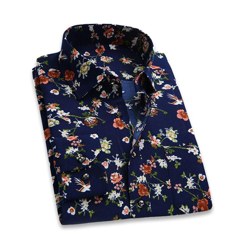 2018 Retro Floral Printed Man Casual Shirts Fashion Classic Men Dress Shirt Breathable Men's Long Sleeve Brand Clothing YN552-cgabuy