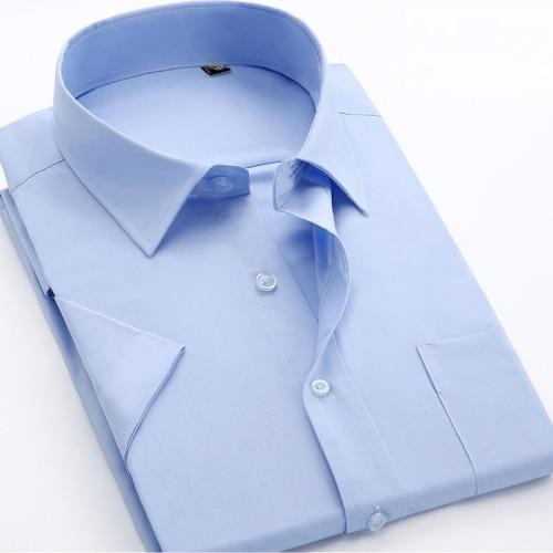 Big Size Shirt 2018 Summer New Men Dress Solid Color Shirts Casual&Business Short Sleeve Slim Fit Man Work Wear Shirt YN533-cgabuy