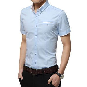 M-5XL 2018 New Summer Men Shirts Male Short Sleeved Solid Solid Color Cotton Slim Fit Men's Business Casual Shirt YN466-cgabuy