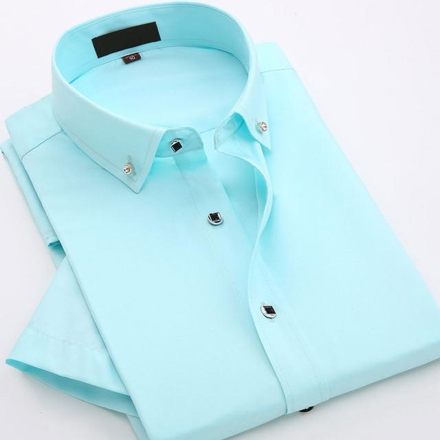 JeeToo 2018 Brand Mens Shirts Short Sleeve White Mens Dress Shirts Slim Fit Men Formal Shirt Cotton Casual Shirt Chemise Homme-cgabuy