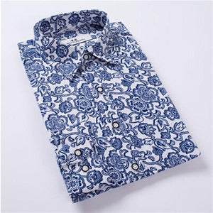 2018 New Men Floral Shirts M-4XL Fashion Casual Slim Fit Camisas Business Dress Floral Print Homme Long sleeve Shirts-cgabuy
